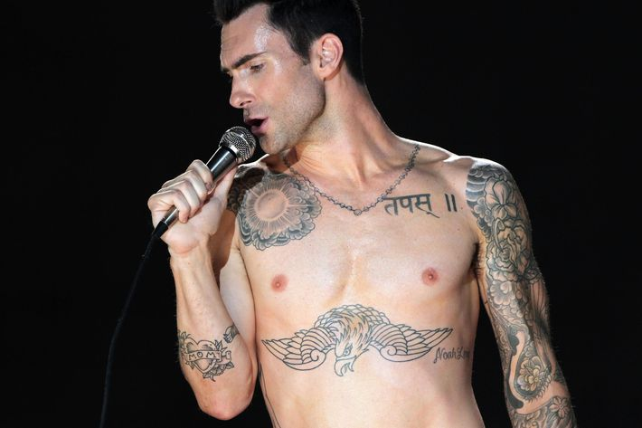 A timely perusal of Adam Levine's naked body.