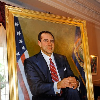 """June 23, 2012-Albany: Governor Andrew M. Cuomo honors his father, Governor Mario M. Cuomo in celebration of his 80th Birthday with a Portrait that will hang in the """"Hall of Governors"""""""