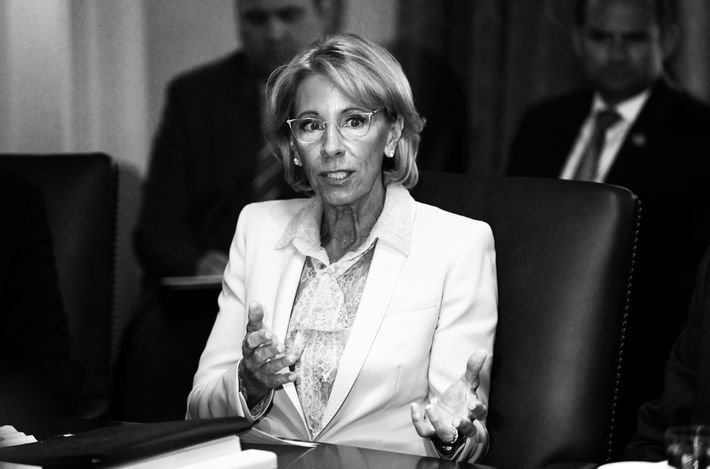 Betsy DeVos during cabinet meeting.