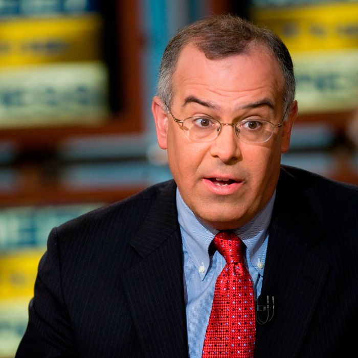 David Brooks of the New York Times speaks during a live taping of Meet the Press March 30, 2008 in Washington, DC.