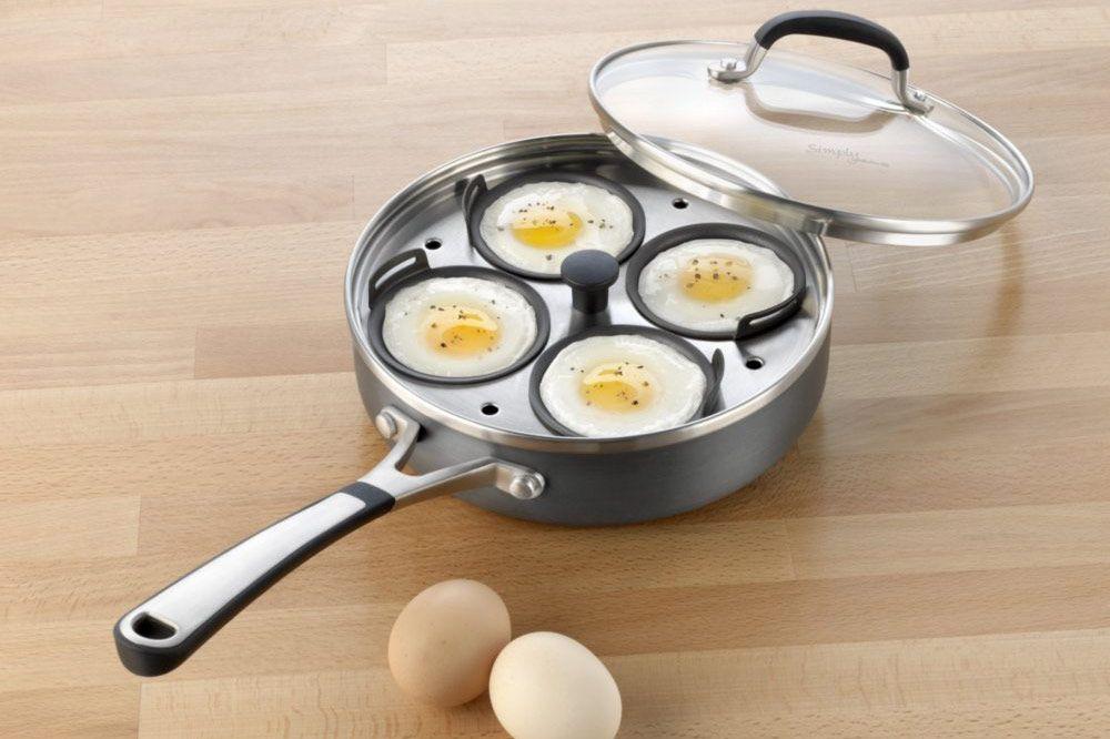 Simply Calphalon Nonstick Four-Cup Egg Poacher With Cover