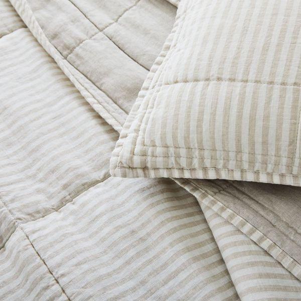 West Elm Flax Linen Striped Quilt and Sham Set Natural Flax