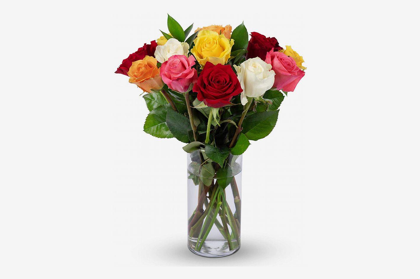 Benchmark Bouquets Dozen Rainbow Roses With Vase