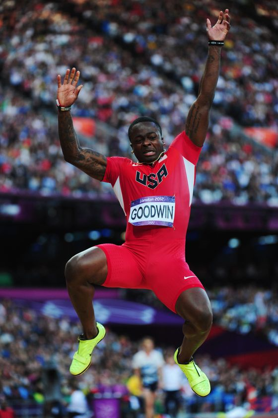 LONDON, ENGLAND - AUGUST 04:  Marquise Goodwin of the United States competes in the Men's Long Jump Final on Day 8 of the London 2012 Olympic Games at Olympic Stadium on August 4, 2012 in London, England.  (Photo by Stu Forster/Getty Images)