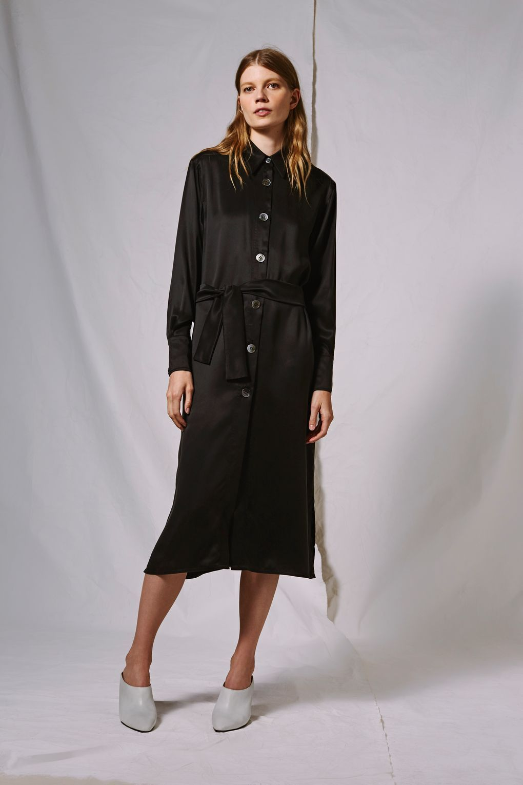 Topshop Sandwash Silk Shirt Dress