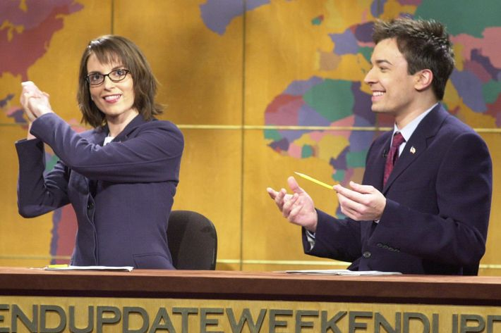 "Tina Fey with Jimmy Fallon on ""Weekend Update"" in 2002."
