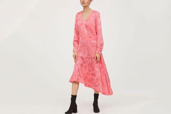 Pink Jacquard-weave Dress