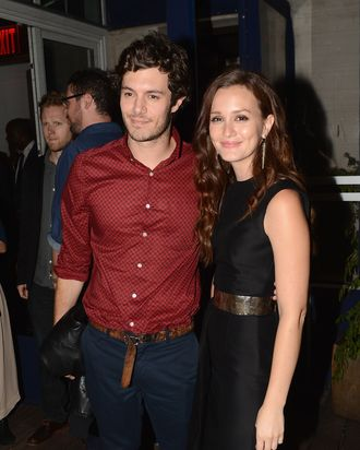 NEW YORK, NY - SEPTEMBER 14: Adam Brody and Leighton Meester attend The Cinema Society with The Hollywood Reporter & Samsung Galaxy S III host a screening of