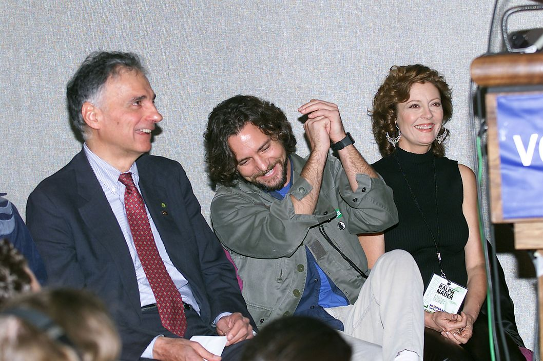 Green Party Presidential Candidate Ralph Nader with  Eddie Vedder and Susan Sarandon at the Ralph Nader rally held at Madison Square Garden in New York City, 10/13/00. (Photo: Evan Agostini/ImageDirect)