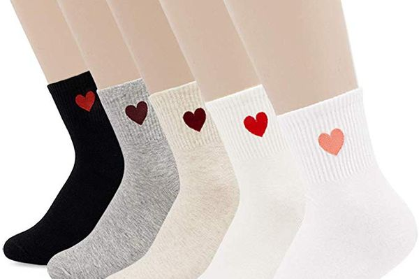 Jinny's Socks Cute Cotton Funny Design Novelty Fall Winter Heart Crew Ankle Socks