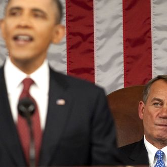 U.S. House Speaker John Boehner (R-OH) listens as President Barack Obama delivers the State of the Union address before a joint session of Congress on Capitol Hill January 24, 2012 in Washington, DC. The president made a populist pitch to voters for economic fairness, saying the federal government should more do to balance the benefits of a capitalist society.