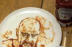This? Just an Excellent Walter White Portrait Made With Ketchup