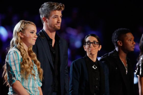 "THE VOICE -- Episode 415B ""Live Show"" -- Pictured: (l-r) Danielle Bradbery, Josiah Hawley, Michelle Chamuel, Kris Thomas -- (Photo by: Trae Patton/NBC)"