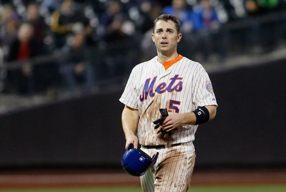 NEW YORK, NY - MAY 15:  David Wright #5 of the New York Mets reacts after being thrown out at second base on stolen base attempt during the game against the Milwaukee Brewers at CitiField on May 15, 2012 in the Flushing neighborhood of the Queens borough of New York City.  (Photo by Mike Stobe/Getty Images)