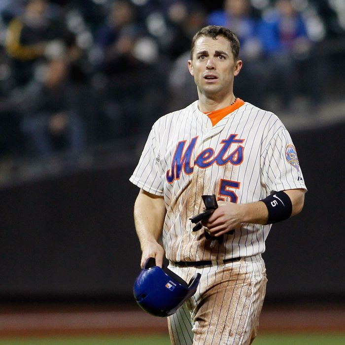 David Wright #5 of the New York Mets reacts after being thrown out at second base on stolen base attempt during the game against the Milwaukee Brewers at CitiField on May 15, 2012 in the Flushing neighborhood of the Queens borough of New York City.
