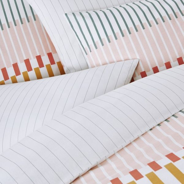Keyboard Duvet Cover in Multi-Coloured Striped Cotton