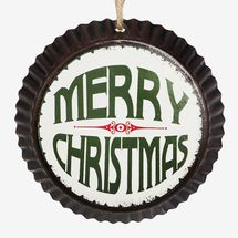 At Home Metal Merry Christmas Bottle Cap Ornament