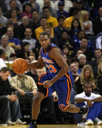 Toney Douglas #23 of the New York Knicks in action against the Golden State Warriors at Oracle Arena on December 28, 2011 in Oakland, California.