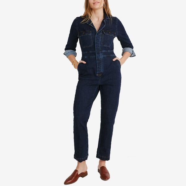 madewell denim slim coverall jumpsuit