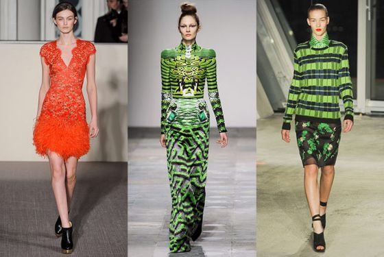 """The darker color palette was injected with bright shades of orange, turquoise, yellow, and green. Jonathan Suanders did an electric green plaid sweater -- you veer from preppy to cool in a second. Peter Pilotto placed his bold leaf prints on a puffer coat; I can't wait to get my hands on it. This is that sense of quirkiness and whimsy that we look for in London.""  <b>Must-have</b>: Electric-green top by Acne"