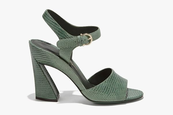 Salvatore Ferragamo Sculptured Heel Sandal With Ankle Strap
