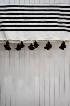 Black and White Striped Plaid Throw