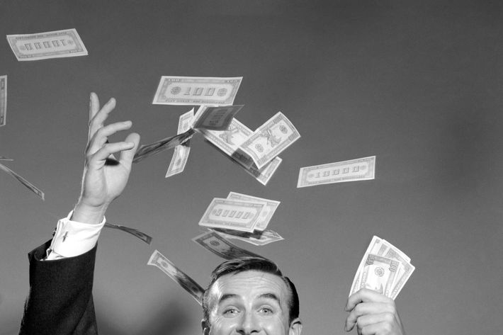 1960s Happy Man Throwing Money Currency Bank Notes In The Air
