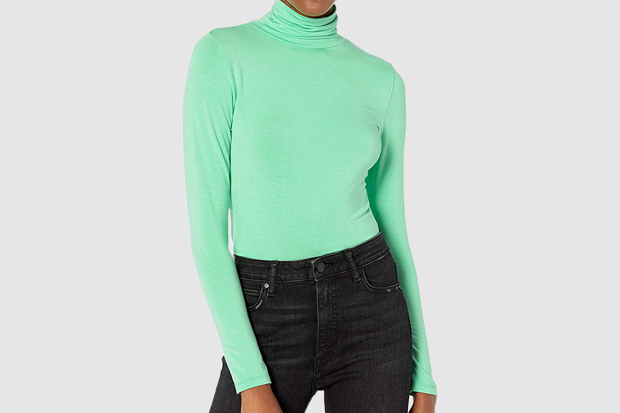 The Drop Women's Phoebe Long Sleeve Turtleneck Fitted T-Shirt