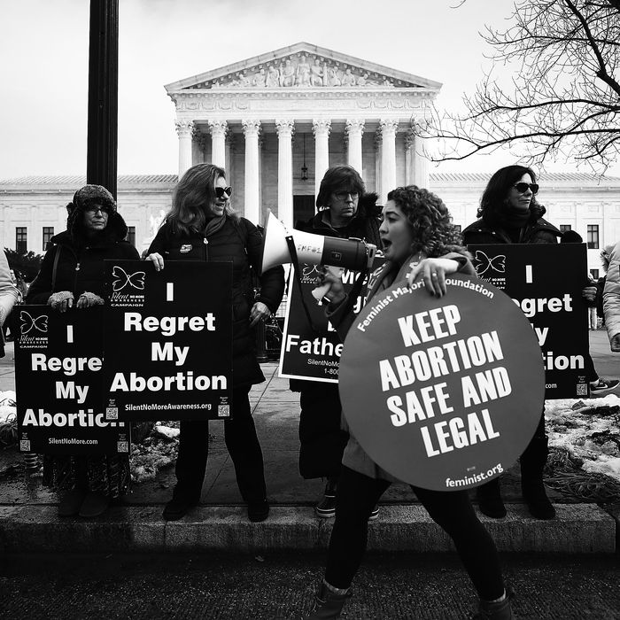 A reproductive-rights protester disrupts an anti-abortion rally.