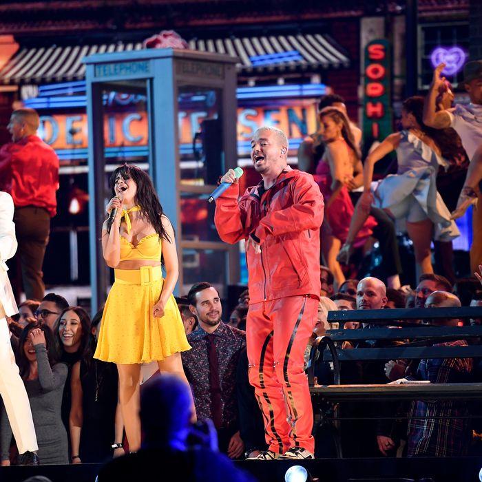 Ricky Martin, Camila Cabello, and J Balvin.