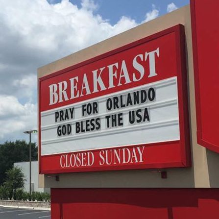 One store's sign after the shooting.