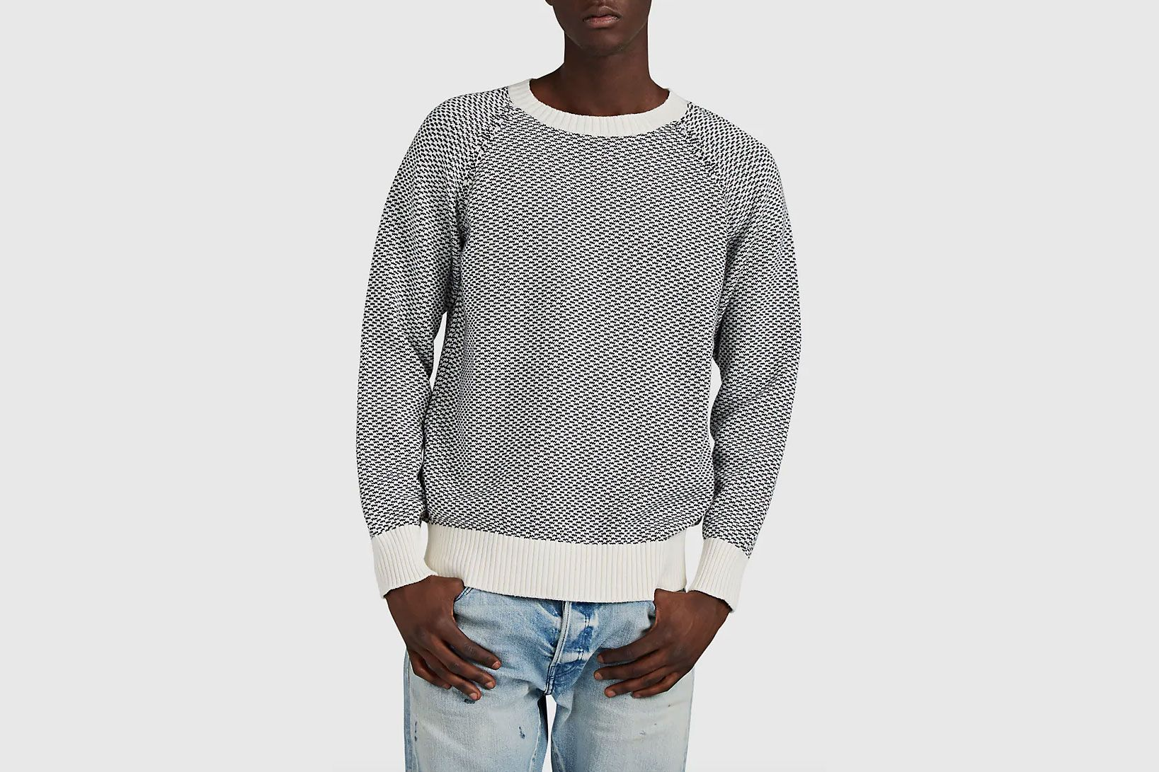 Barneys New York Cotton-Alpaca Jacquard Sweater