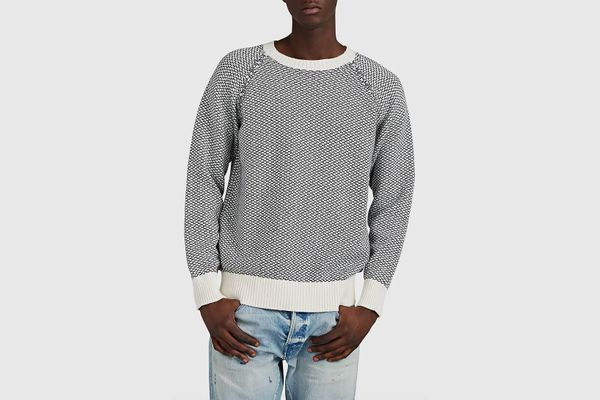 Barneys New York Cotton-Alpaca Jacquard Sweater