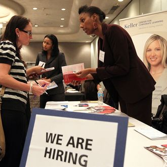 A job seeker (L) meets with a recruiter during the East Bay HIREvent career fair at Centre Concord on June 5, 2012 in Concord, California. Job seekers met with recruiters who were offering a total of 700 jobs during the East Bay HIREvent. According to reports the U.S. unemployment rate for May was at 8.2 percent.