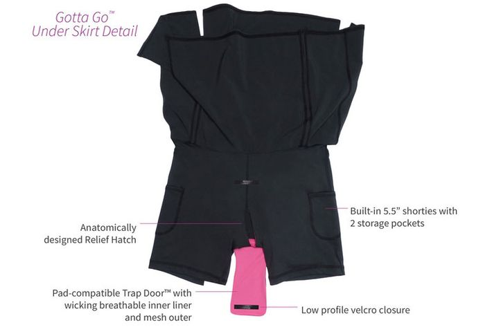 An earlier prototype of the Gotta Go skirt with a smaller