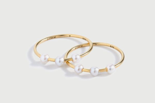 J. Crew Demi-Fine 14k Gold-Plated Ring Set With Pearls