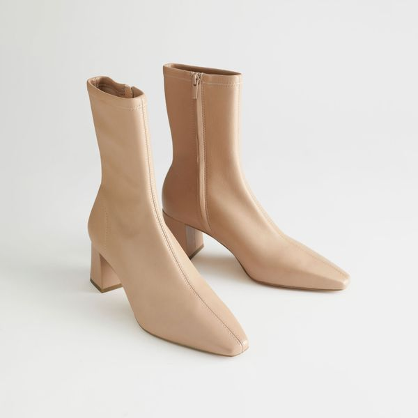 & Other Stories Heeled Leather Sock Boots