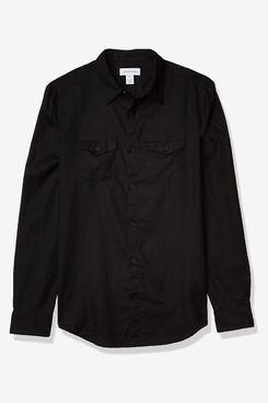 Calvin Klein Men's Long Sleeve Lightweight Cotton Linen Button Down Shirt