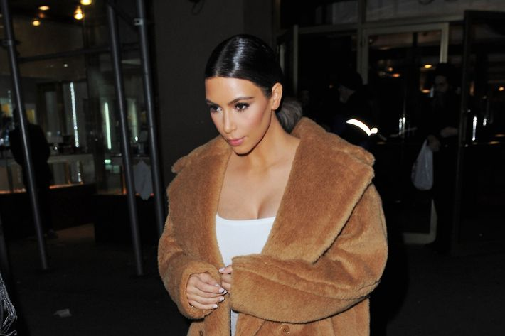Kim Kardashian apparently stole someone's plush bathrobe.