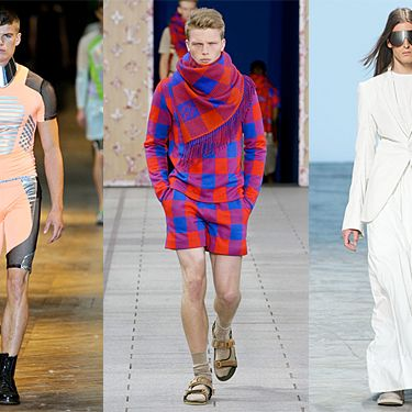 From left: new menswear looks from Mugler, Louis Vuitton, and Rick Owens.