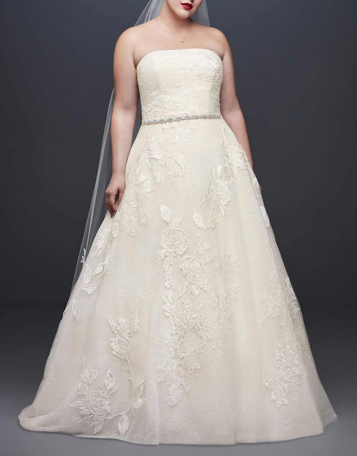 Rose Lace Plus Size Ball Gown Wedding Dress