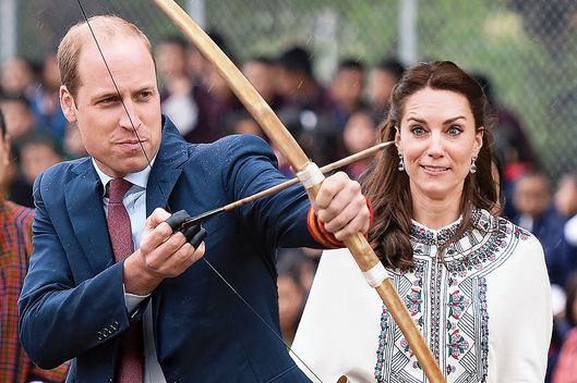 The Duke and Duchess of Cambridge try Archery in Bhutan