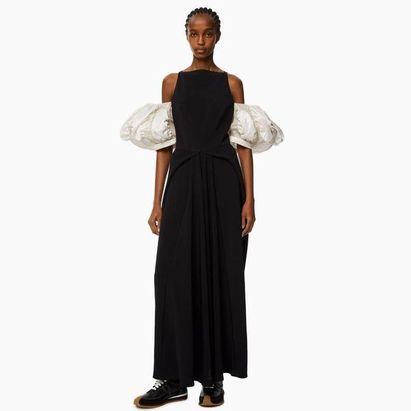 Loewe Puffed sleeve dress in wool crepe
