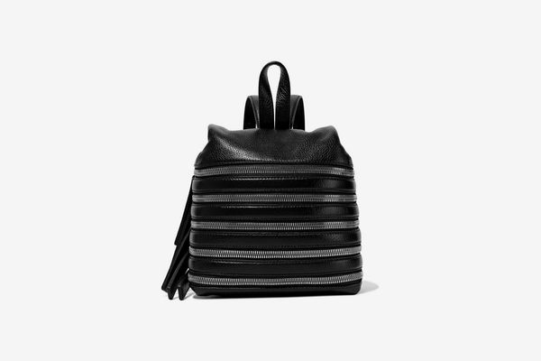 Kara Small Zip-Detailed Textured-Leather Backpack