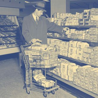 Young man in supermarket