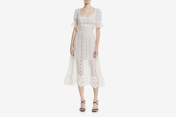 Self-Portrait Scoop-Neck Empire-Waist Floral Lace Guipure Midi Dress