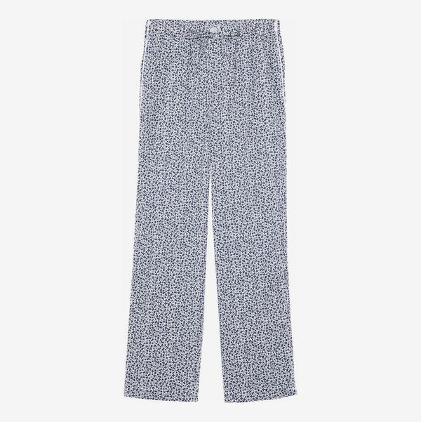 Marina Printed Cotton-Jersey Pajama Pants - strategist best marina white and blue designed draw string pajama pants