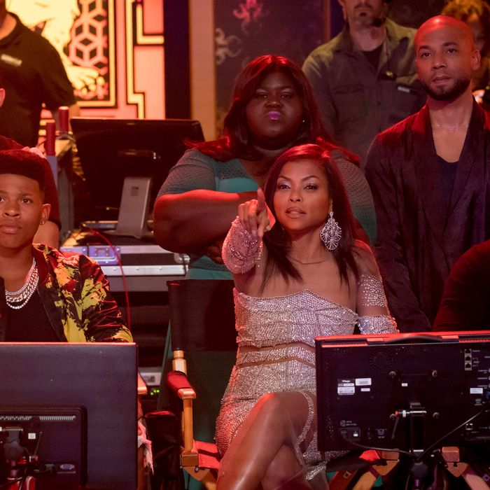 EMPIRE: Pictured top L-R: Gabourey Sidibe and Jussie Smollet. Bottom L-R: Bryshere Gray, Taraji P. Henson and guest star Taye Diggs in the