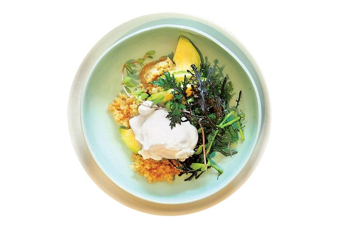 Poached egg with miso quinoa.