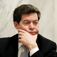 WASHINGTON - MAY 18: Sen. Sam Brownback (R-KS), listens to Interior Secretary Ken Salazar testify during a Senate Energy and Natural Resources Committee hearing on Capitol Hill on May 18, 2010 in Washington, DC. The committee is hearing testimony about the accident involving the Deepwater Horizon oil rig that exploded and is now leaking oil into the Gulf of Mexico.  (Photo by Mark Wilson/Getty Images) *** Local Caption *** Sam Brownback